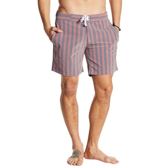 "Onia Other - Onia Alec 7"" Adjustable Stripe Swim Trunks L"